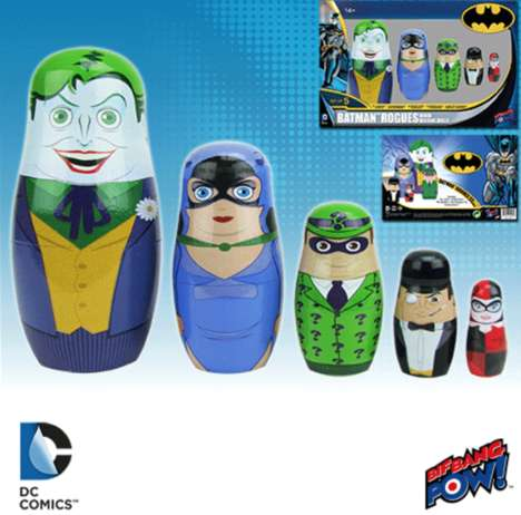 Comic Book Nesting Dolls - The Batman Rogues Wood Nesting Dolls Feature All Your Favorite Villains