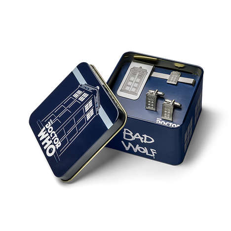 Chic Sci-Fi Cufflinks - This Doctor Who TARDIS Men's Jewelry Gift Set Comes with Cufflinks and More