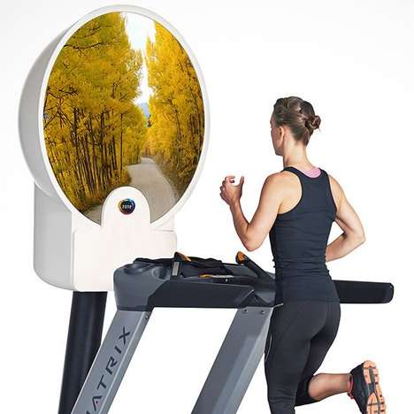 Virtual Exercise Screens - The Zone Dome Virtual Treadmill Monitor Takes You to Another Location
