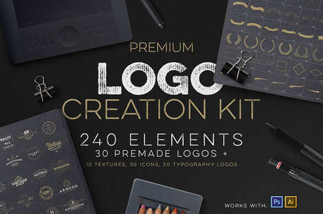 DIY Logo Design Kits - This Logo Creation Kit Includes 240 Inspirations and 30 Premade Logos
