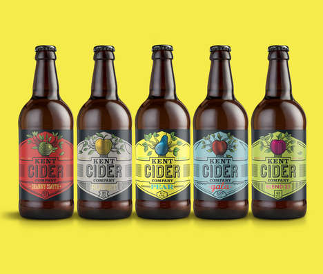 Cider Tree Drink Labels - This Colorful Rebranding Features a Contemporary Take on a Tree Design