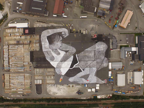 Massive Rooftop Murals - This Ella & Pitr Artwork Covers a 226,000 Square Foot Building in Norway