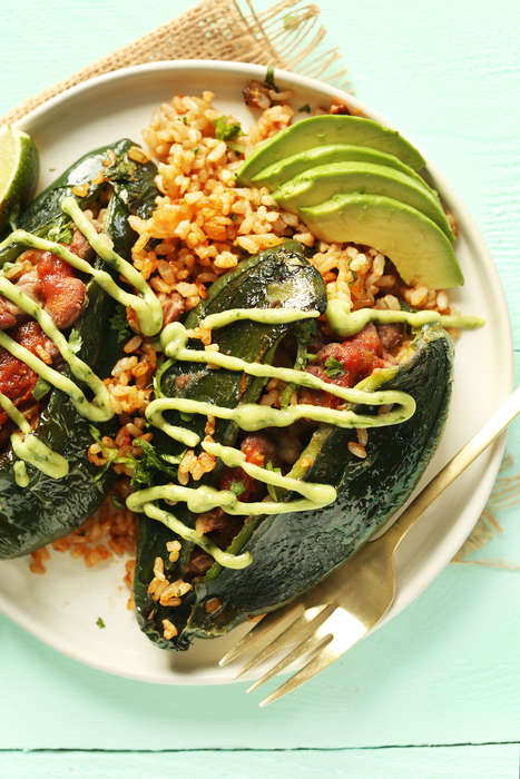 Spicy Stuffed Pepper Recipes - These Poblano Peppers are Stuffed with Healthy Vegan Ingredients