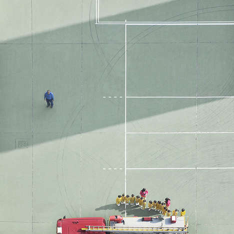 Aerial Fire Station Photos - These Aerial Images of a Fire Station Make Firefighters Look Miniature