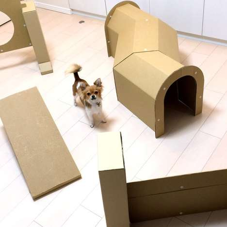 Cardboard Canine Obstacle Sets - This Paper Course Challenge is Ideal to Keep Dogs Mentally Aware