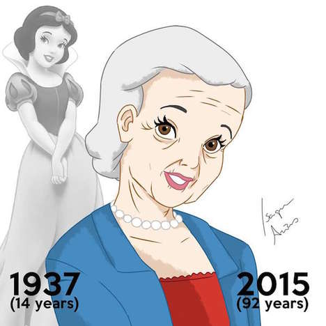 Aging Disney Princesses - This Disney Illustrations Capture the Girls All Grown Up and Fully Aged