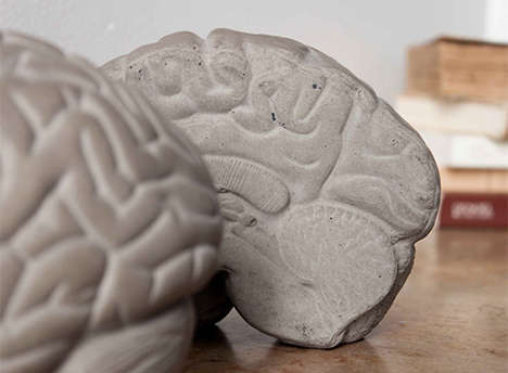 Concrete Brain Bookends - This Pair of Bookends is Inspired by the Knowledge It Holds Between Itself