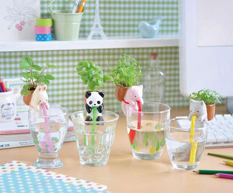 Straw-Sucking Animal Planters - These Self-Watering Mini Planters Hang Off the Edge of a Glass
