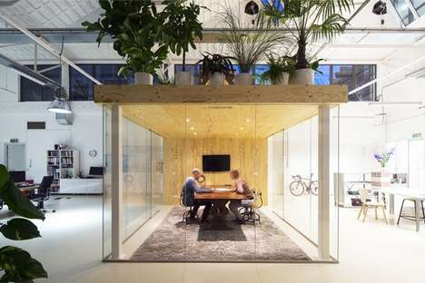 Plant-Covered Office Pods - This Loft Office in Rotterdam Includes an Indoor Garden Roof