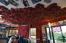 Poppy-Decorated Eateries - This Restaurant Uses Poppy Decor on Its Walls to Honor Fallen Soldiers
