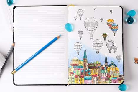 Hybrid Coloring Notebooks - This Notebook Has Pages for Taking Notes and Coloring Illustrations