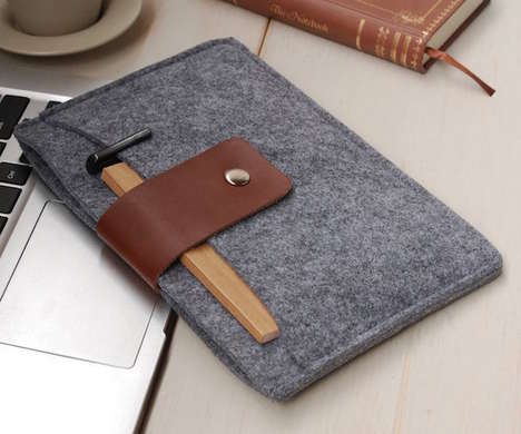Soft Handmade Tablet Cases - The DFRshop Felt and Leather iPad Cover Features Ample Storage Space