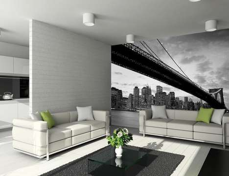New York Landscape Decals - The 1Wall Brooklyn Bridge Wall Mural Brings the Iconic Structure Indoors