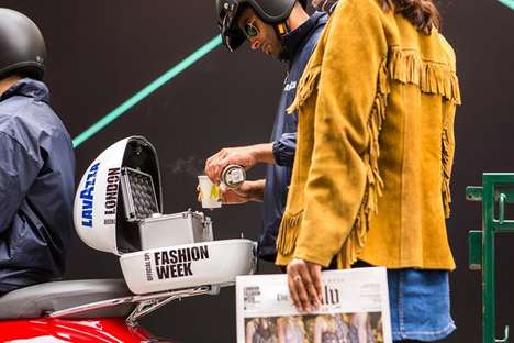 Fashion Week Coffee Stunts - The Lavazza Crew and Vespa Dropped Off Free Coffee at LFW