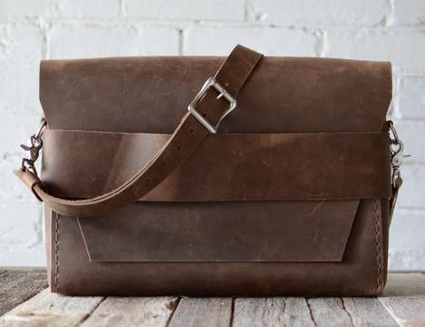Handcrafted Leather Luggage - This Stock & Barrel Co. Vintage Leather Satchel is Ideal for Students
