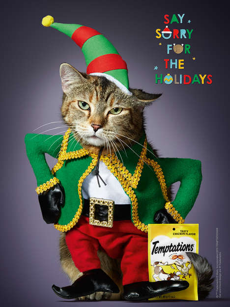 Festive Feline Sweater Ads - The #SaySorry Ad Encourages Cat Owners to Reward Their Pets with Treats