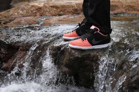 Salmon-Inspired Sneakers - These 'Fish Ladder' Skate Sneakers Feature a Salmon-Colored Design