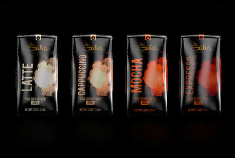 Color-Coded Coffee Bags - The 'Saha' Coffee Bags are Labeled with Vibrant Clouds of Smoke