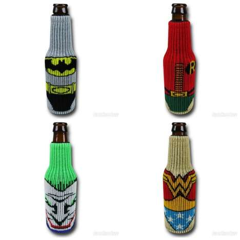 Knitted Superhero Drink Koozies - These Beverages Covers Keep Your Drink Looking and Feeling Cool