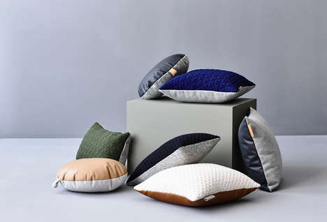 Dual-Textured Cushions - The 'ni.ni.creative' Minimalist Leather Pillows Pair Cozy & Stylish Fabrics