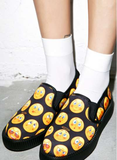 Emoji Slip-On Platforms - The T.U.K Emoji Creepers Make Classic Emoticons Wearable