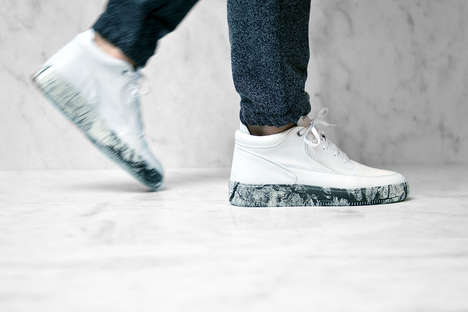 Marble-Inspired Sneakers - These Fashion Sneakers Feature Marble Stone Patterned Soles