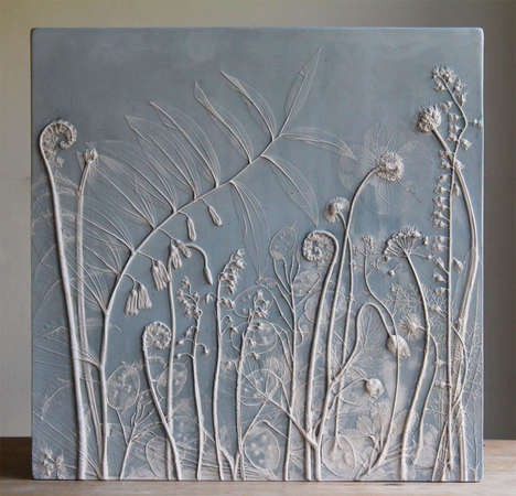Fossilized Flower Decor - These Handmade Tiles Are Made with Real Pressed Plants