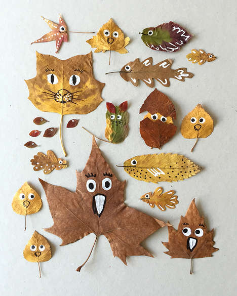 Expressive Leaf Decor - These Tutorial Teaches How to Transform Leaves into Smiling Creatures