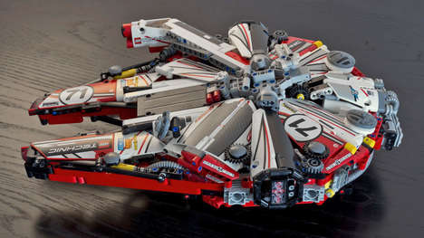 Racing Livery Starships - This LEGO Millennium Falcon is Covered in Nascar-Like Sponsorship Livery