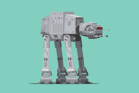 Sci-Fi Vehicle Illustrations - Scott Park Refashioned Star Wars Vehicles with Clean Minimalism