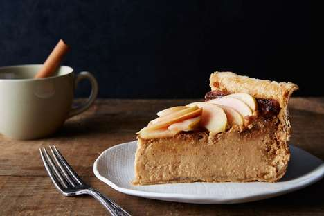 Cider Cheesecake Pies - This Hybrid Recipe Combines Pumpkin Pie with a Creamy Torte