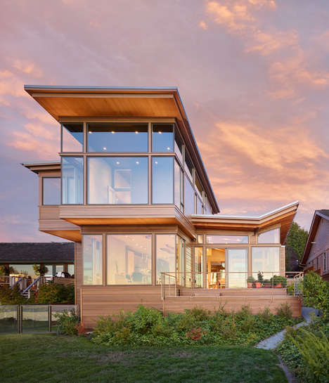 Eco Waterfront Homes - The Elliot Bay House Has a Roof That Directs Rainwater into a Garden Pool