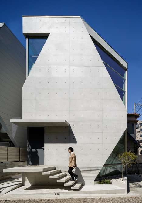 Angular Industrial Abodes - This Concrete-Clad Home in Tokyo is Made with a Mix of Volcanic Ash