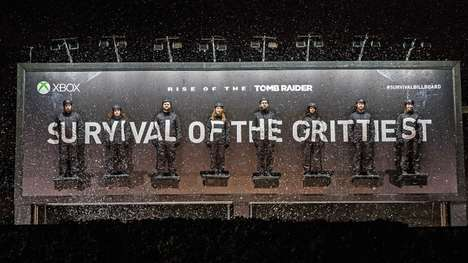Human Billboard Stunts - London's 'Survival Billboard' is a Promotional Stunt for Tomb Raider