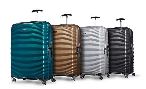 Sturdy Scalloped Suitcases - Samsonite Lite Shock Luggage is Designed to Survive Travels in Style