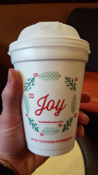 Holiday-Themed Coffee Cups - The 'Dunkin' Donuts' Seasonal Menu Includes Festive Coffee Cups
