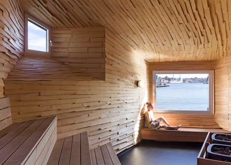 Elevated Steel Saunas - This Unusual Public Sauna is Located in an Industrial Harbor