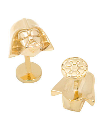 Geeky Golden Cufflinks - These Cufflinks Display the Face of Iconic Star Wars Villain Darth Vader