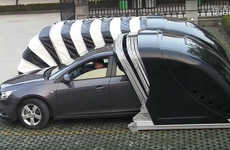 Car Parking Pods - The Caterpillar Parking Spaces Conveniently Cover Cars in Compact Areas