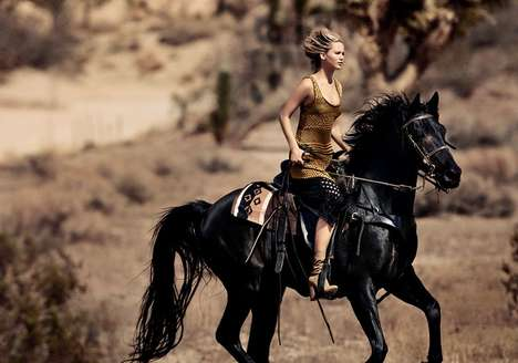 Equestrian Actress Editorials - Actor Jennifer Lawrence Stars in a Farmstead Photoshoot for Vogue