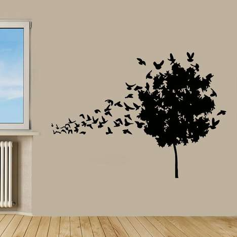 Surrealist Bird Decals - This Wall Sticker Design Shows a Tree Turning into a Flock of Birds