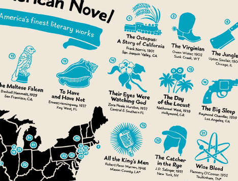Patriotic Literature Maps - This Typographic Chart Shares Where Famous American Novels Were Written