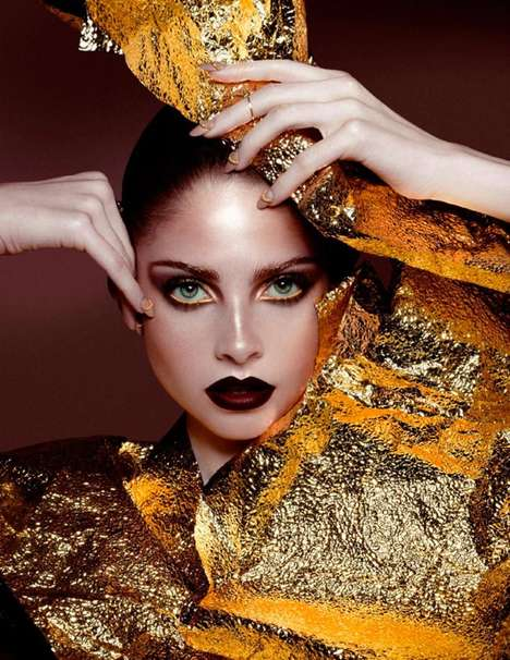 Experimental Beauty Editorials - L'Officiel Singapore's Feature Boasts Metallic and Bronze Makeup