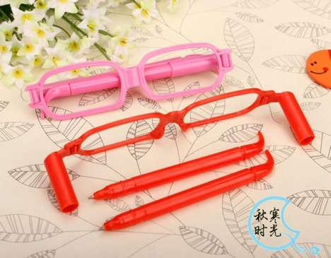 Quirky Pen Glasses - These Novelty Pens Fold Into an Unusually Shaped Storage Case