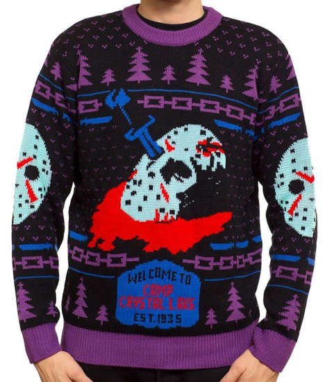 Multi-Holiday Fashions - This Acrylic Sweater Features the Likeness of Jason Voorhees and Pine Trees