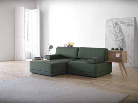 Modular Couch-Shelf Hybrids - This Sectional Sofa Has a Built-in Shelf for Holding Books and Plants