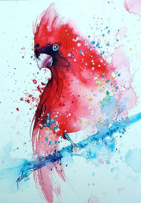 Splattered Watercolor Paintings - This Artist Uses Splashes of Watercolor Paint to Created Animals