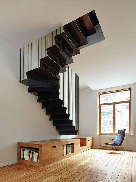Suspended Steel Staircases - This Angular Staircase Creates an Optical Illusion with Painted Lines