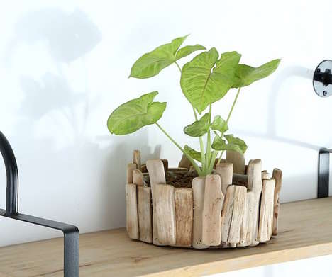 Natural Timber Flower Pots - The PISCES Wooden Flower Pot Adds an Additional Touch to Your Garden