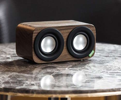 Natural Walnut Speakers - The Vers Audio 2Q Bluetooth Sound System is Crafted from Natural Materials